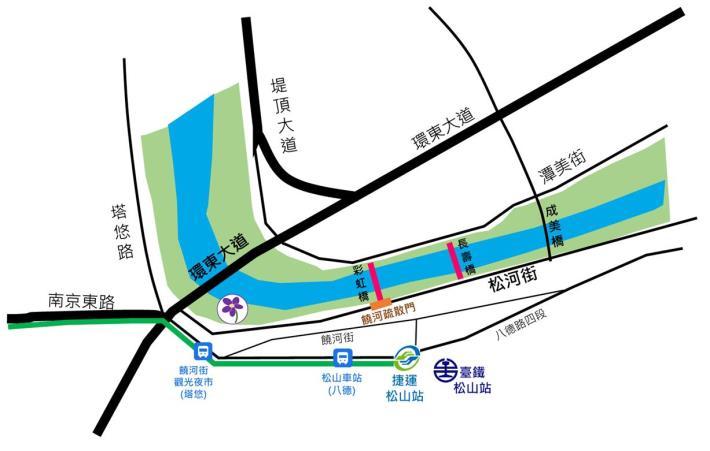 成美左岸河濱公園花海 交通示意圖