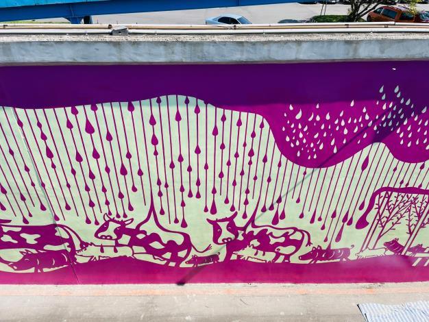 北市基六號水門堤壁 呈現當地歷史記憶