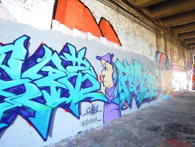 北市河濱塗鴉牆以4個月為一期,定刷白後,再開放市民創作.JPG