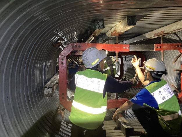 研究院路螺旋內襯工法-支撐架安裝過程