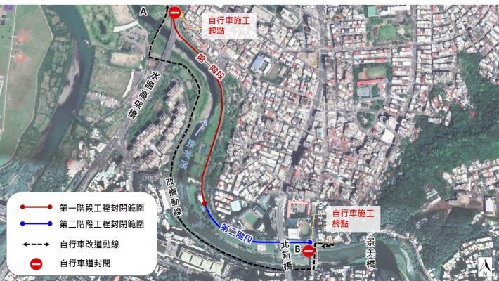 景美河濱自行車道動線改善工程 改道示意圖