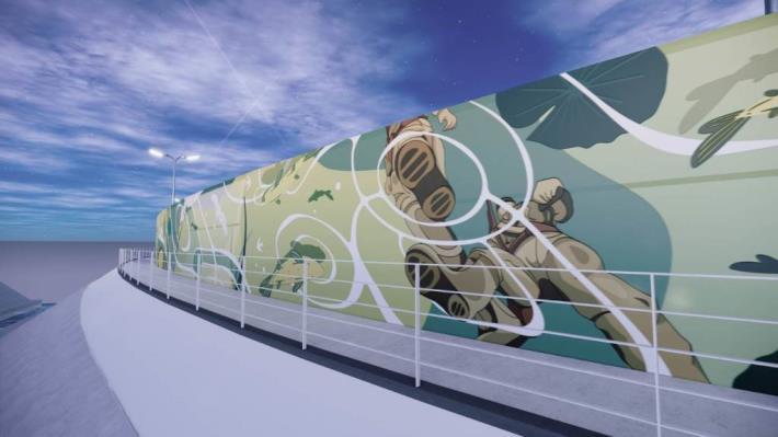 磺溪堤防-堤壁美化模擬圖