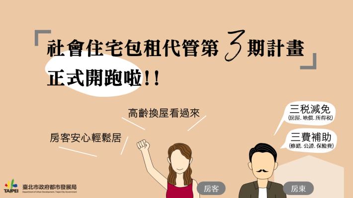 臺北市社會住宅包租代管第3期計畫已徵選出廠商協助辦理