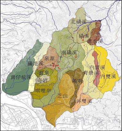 臺北市管轄的大屯火山區範圍水系集水區