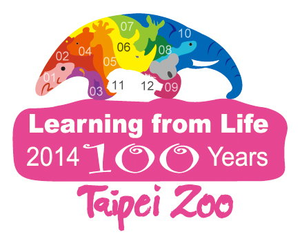 The 12 animals in the logo of 100th anniversary of Taipei Zoo. (The numbers of referred animals are labeled as below.)