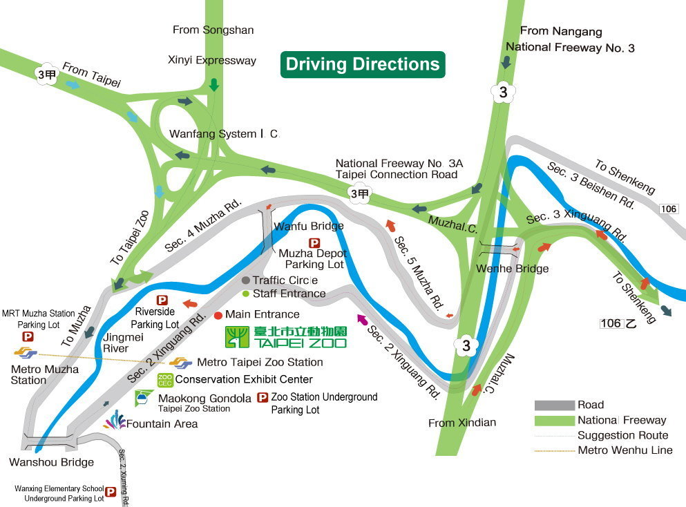 Transportation Map - Visitors can come to Taipei Zoo by bus, the MRT, or self-drive. The recommend way of transportation will be the MRT. And Taipei Zoo is located next to the 'Taipei Zoo Station' of Wenshan-Neihu Line.