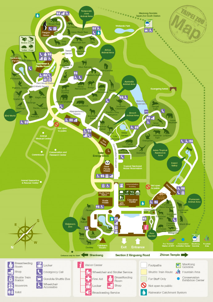 The map of Taipei Zoo - 8 outdoor display areas and 6 indoor display areas