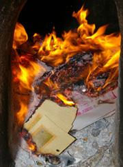 ▲紙錢燃燒會釋放有毒物質