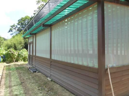簡易蔭棚面積約72平方公尺,搭建材質為木材、塑膠網,頂鋪透明塑膠板
