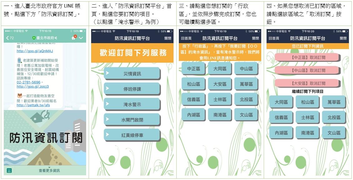 北市府LINE官方帳號「防汛資訊訂閱平台」服務訂閱示意畫面