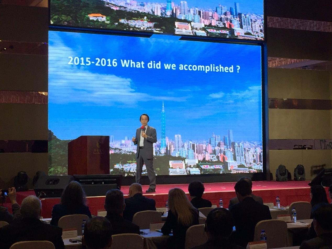 圖說:林欽榮副市長會中發表臺北市智慧城市規劃藍圖