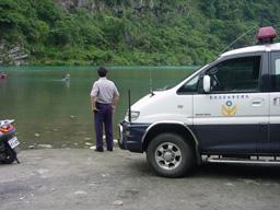 駐衛警巡邏下游河川照片