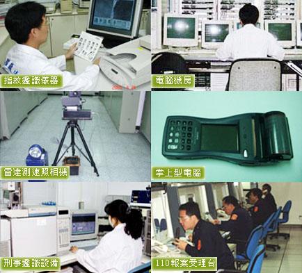 應勤裝備(當中包含指紋鑑識儀器、電腦機房、雷達測速照相機、掌上型電腦、刑事鑑識設備、110報案受理台)