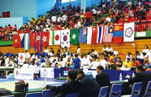 Taipei Open International Judo Tournament audience deck.