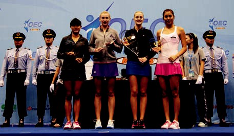 At the awards ceremony of the OEC Taipei Ladies Open