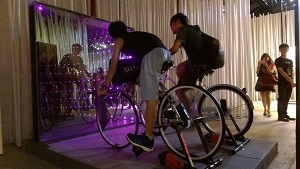 Viewers put their feet on the pedals of lightweight bicycles, named Siva Cycle Atom, to generate electricity for the LED headlights. (Courtesy of the Department of Cultural Affairs)