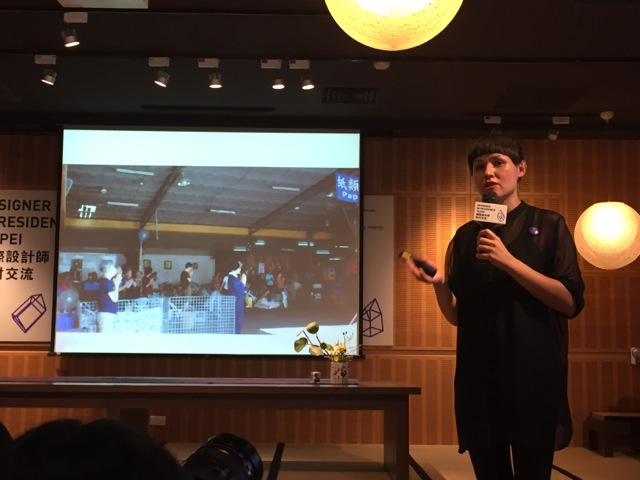 "1.German designer Victoria Ledig presents her ""Waste Craft"" proposal for the 2016 World Design Capital at the Designer in Residence program press conference in Taipei on Wednesday, July 27.Photo Courtesy of DOCA contributor Wendy Kuo."
