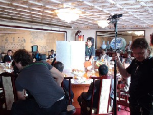"""Film crew of British-German joint collaboration """"Chinese"""" shoot a scene at the Grand Hotel in Taipei."""