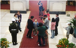 """Taiwan's TV production crew of """"Ni Yada"""" shoot a scene at the Presidential Office in Taipei."""