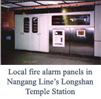 Local fire alarm panels in Nangang Line's Longshan Temple Station