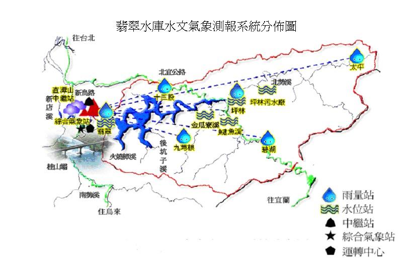 翡翠水庫水文氣象測報系統分佈圖