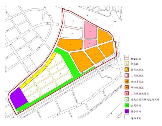 內湖區第五期市地重劃範圍及土地使用分區示意圖