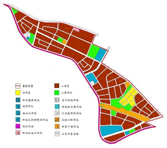 內湖區第六期市地重劃範圍及土地使用分區示意圖