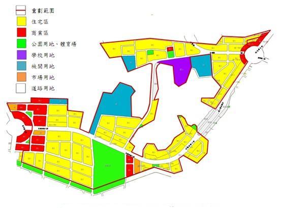 內湖區第四期市地重劃範圍及土地使用分區示意圖