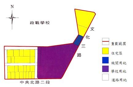 北投區第三期市地重劃範圍及土地使用分區示意圖