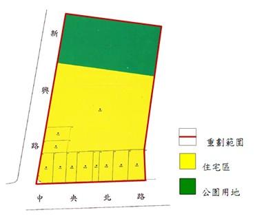 北投區第六期市地重劃範圍及土地使用分區示意圖