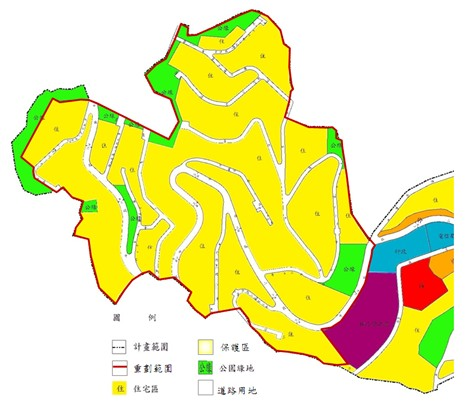 士林區第一期市地重劃範圍及土地使用分區示意圖