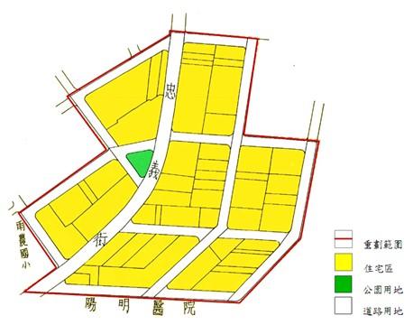 士林區第三期市地重劃範圍及土地使用分區示意圖