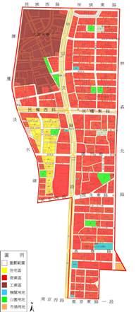 日據時期中山北路重劃範圍及使用分區示意圖