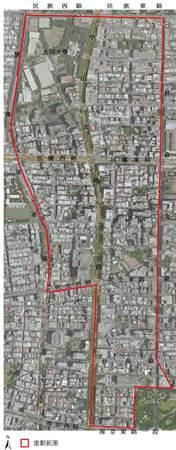 日據時期中山北路重劃航照位置圖