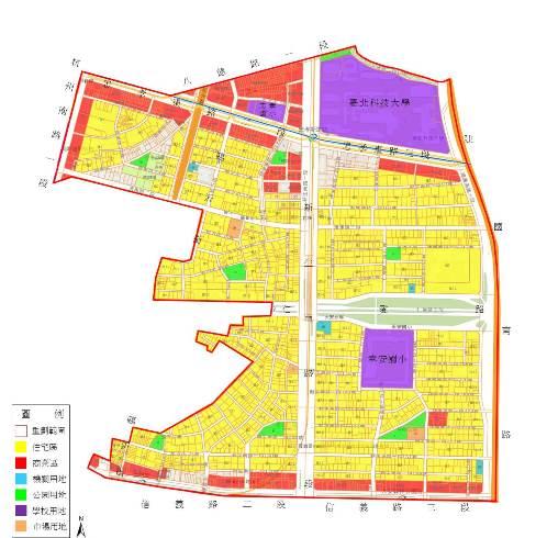 日據時期幸段重劃重劃範圍及使用分區示意圖
