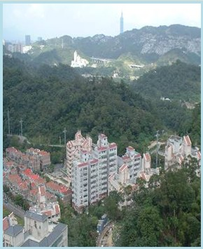 木柵區第二期重劃後,新建大廈環山矗立分散市區居住人口密度