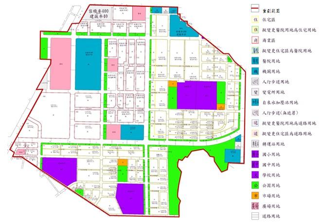松山區第二期市地重劃範圍及土地使用分區示意圖
