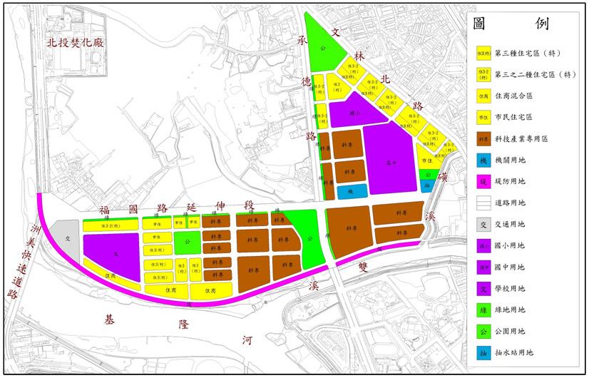 開新視窗-北投士林科技園區區段徵收土地使用分區圖