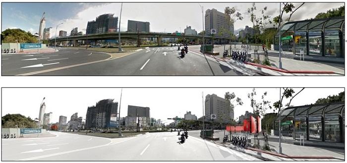 忠孝橋引橋拆除工程為臺北市西區門戶計畫的第一步,將透過改造道路路型及調整公共運輸動線,重現北門歷史意象,加速西區繁榮發展。圖為引橋拆除前後模擬比較圖。