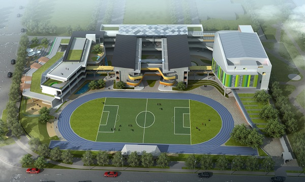 Simulated bird's-eye view of the relocated Tanmei Elementary School