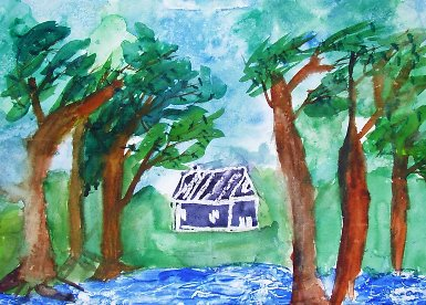 一幅圖畫:林間小屋