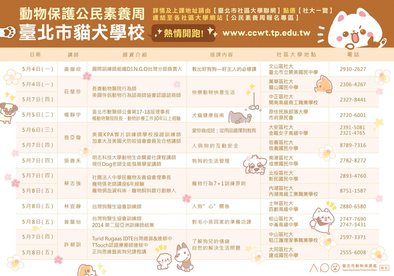 動物保護公民素養周 臺北市貓犬學校 熱情開跑