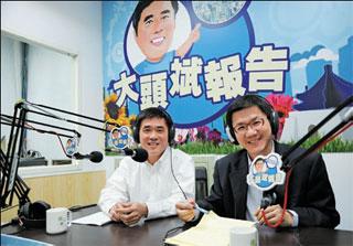 臺北市長郝龍斌每週三在「臺北你當家」節目的「大頭斌報告」單元中,與民眾空中相會。(劉佳雯攝)