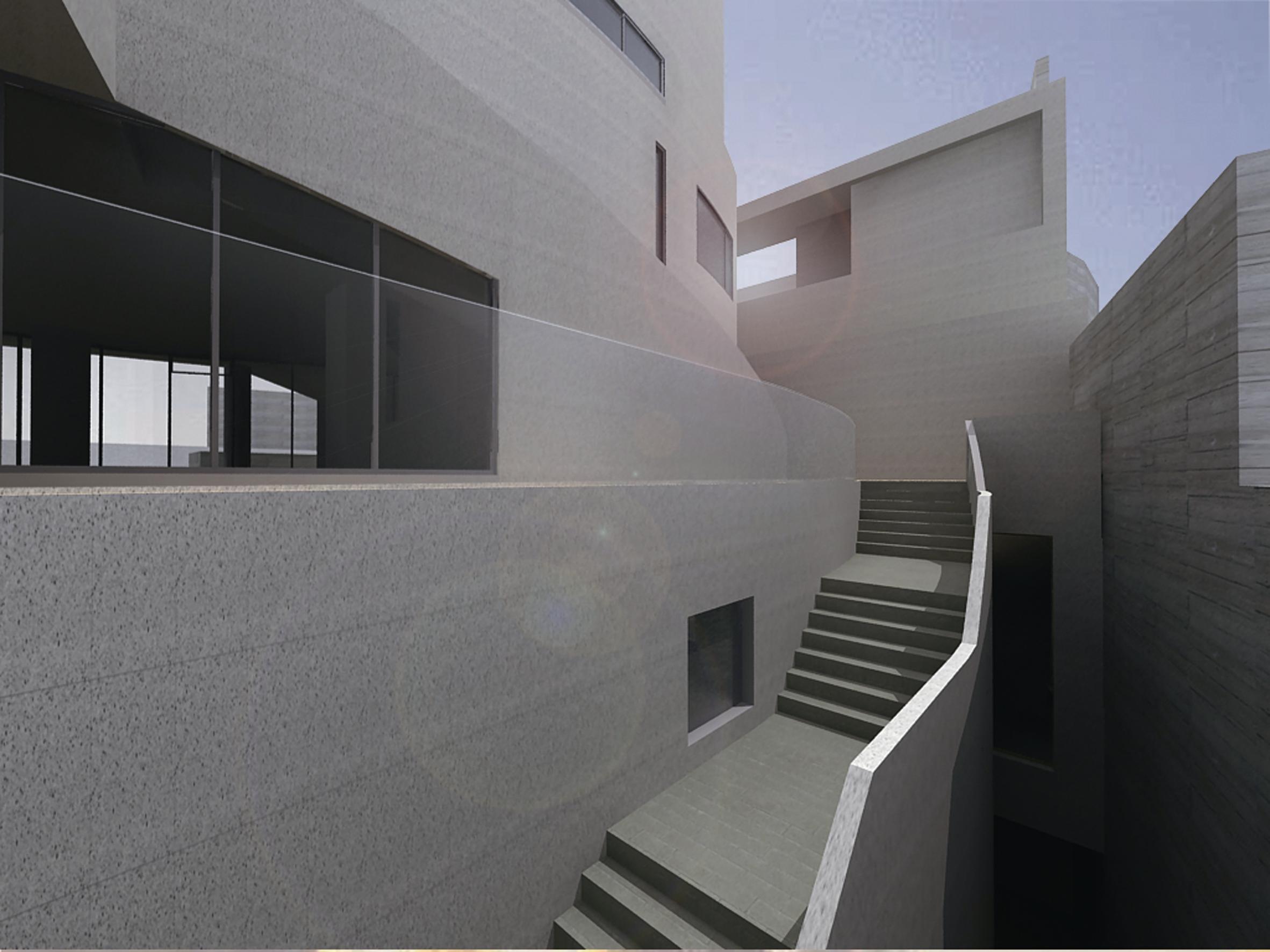 「玖住章」室外樓梯與平台導入山域的意象,形成可居可遊的漫