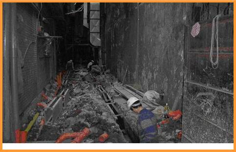 用戶接管工程及新築水溝施工中