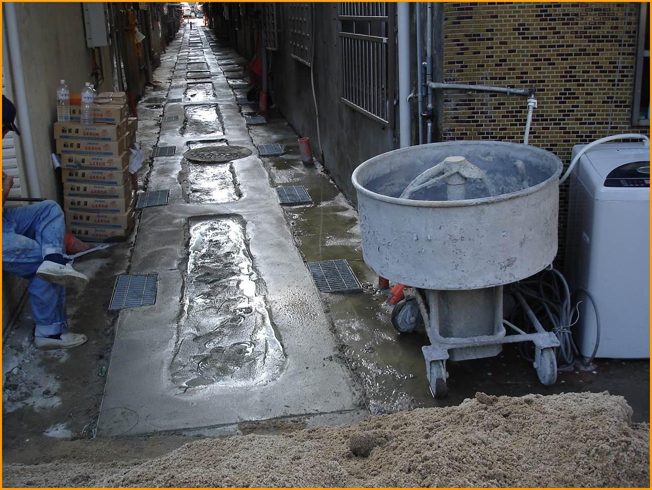 混凝土貼面磚地坪美化施工中
