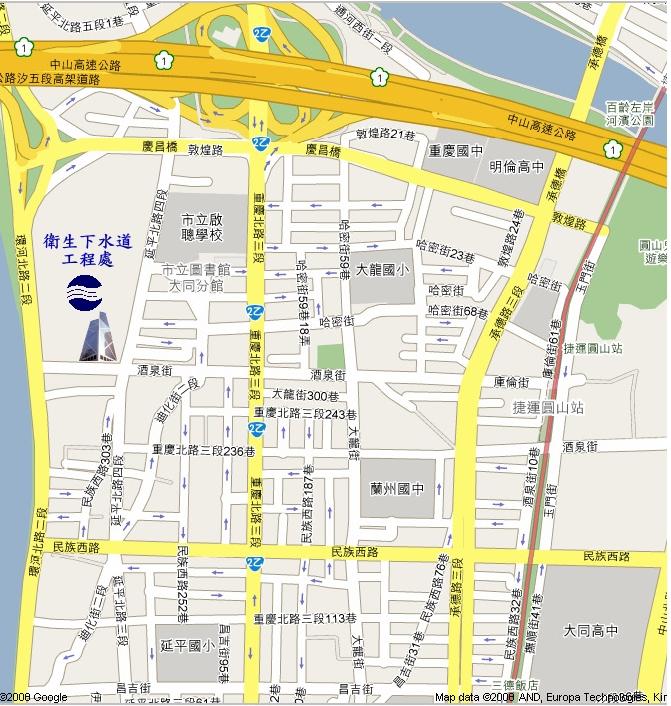 衛工處位置圖,地址臺北市大同區酒泉街235號,鄰近的公車站牌為鄰江里站、老師里站