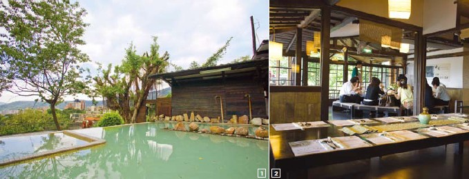 1.The white-sulfur open-air SPA facility at Shann Garden 2.The Shann Garden restaurant facility was once the home of a noted historical personage, Zhang Xue-liang