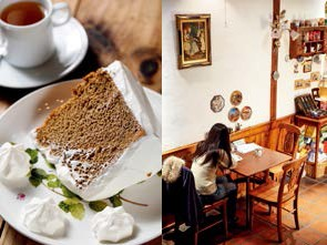 Trademark chiffon cake; Covent Garden Café is reminiscent of the English countryside.