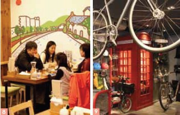 Otaru Syphon Coffee provides a great atmosphere for relaxing and drinking coffee./Lane & Trip is a mini-paradise for lovers of bicycling